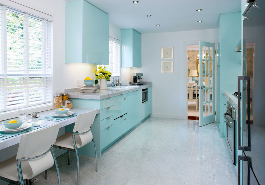 Arredamento cucina color Tiffany 01