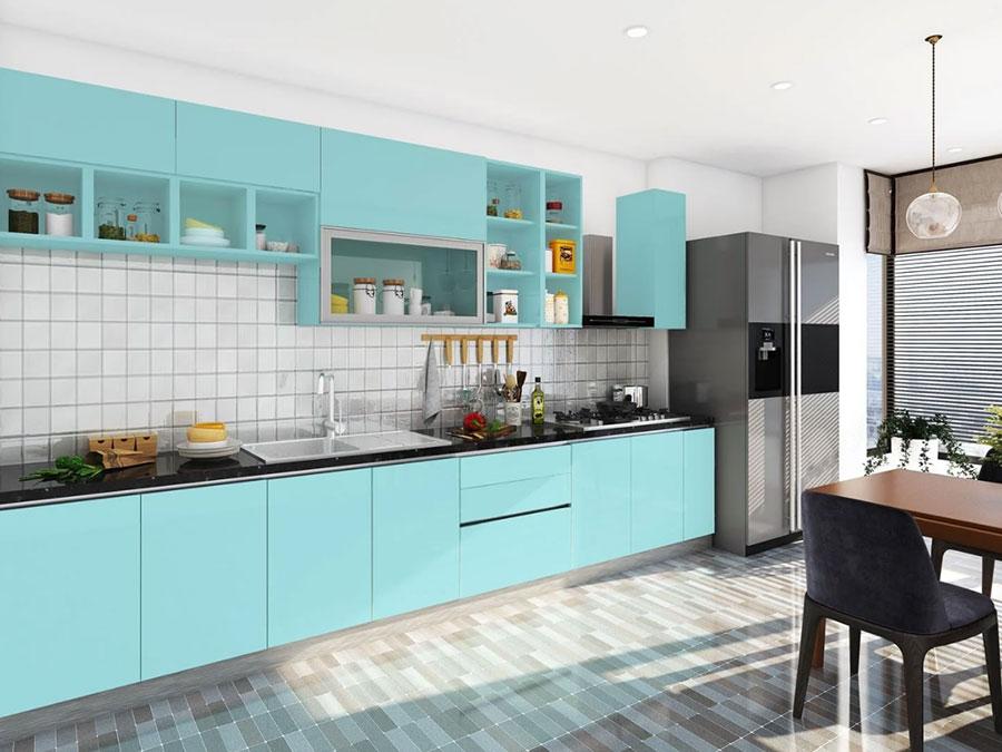 Arredamento cucina color Tiffany 02