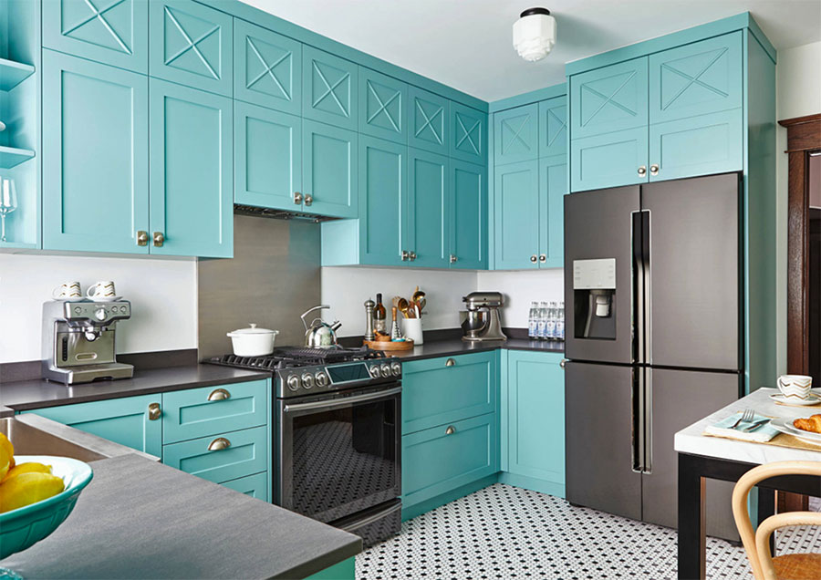 Arredamento cucina color Tiffany 03
