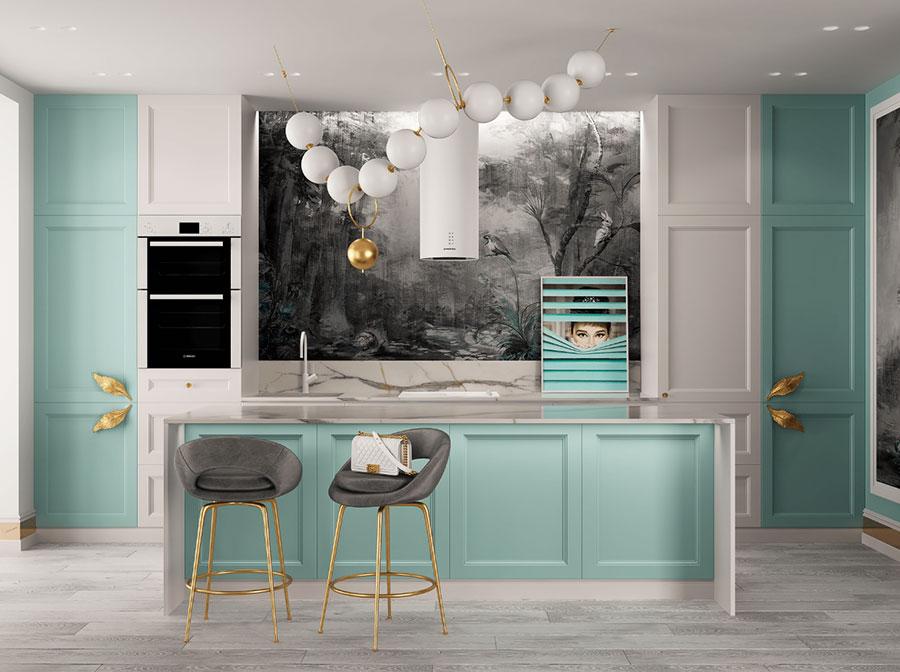 Arredamento cucina color Tiffany 04
