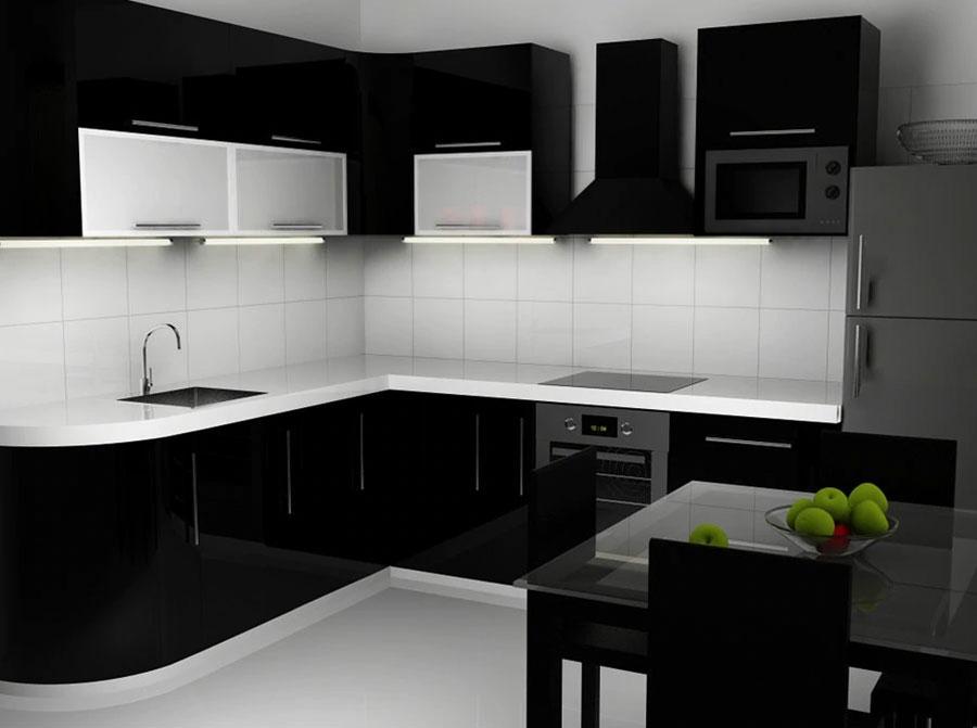 Modello di cucina bianca e nera lucida n.02