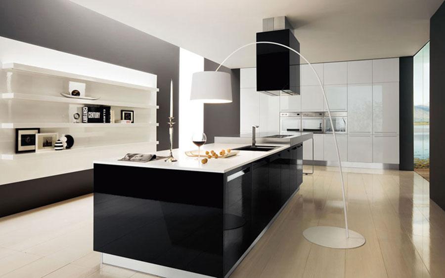 Modello di cucina bianca e nera lucida n.04