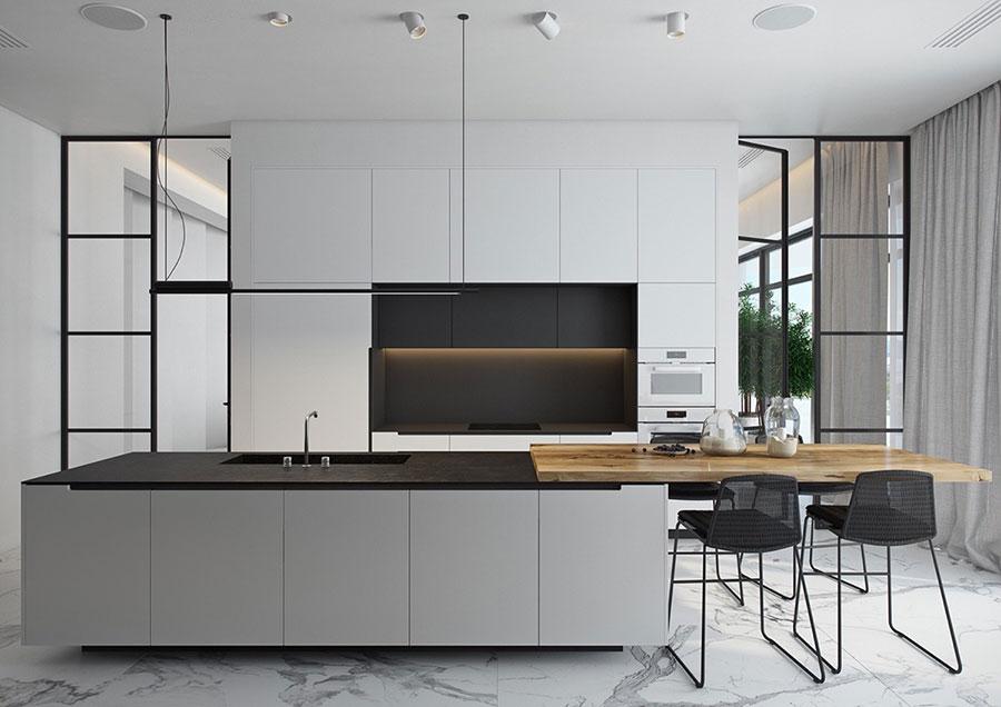 Modello di cucina bianca e nera opaca n.01