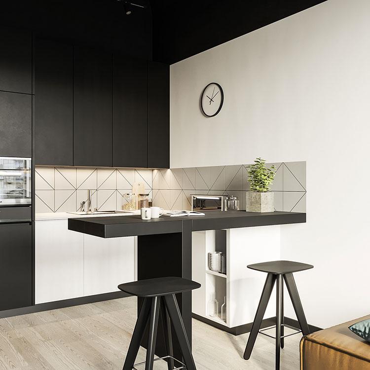 Modello di cucina bianca e nera opaca n.04