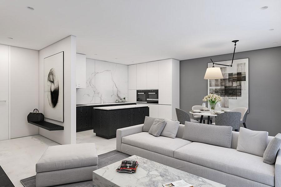 Modello di cucina bianca e nera opaca n.05