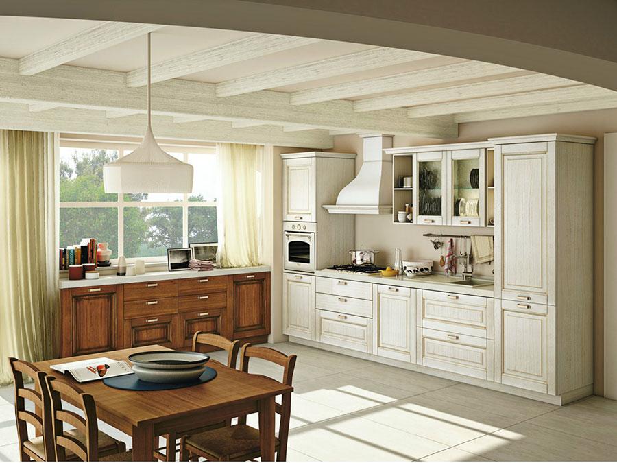 Modello di cucina classica bianca e legno n.02