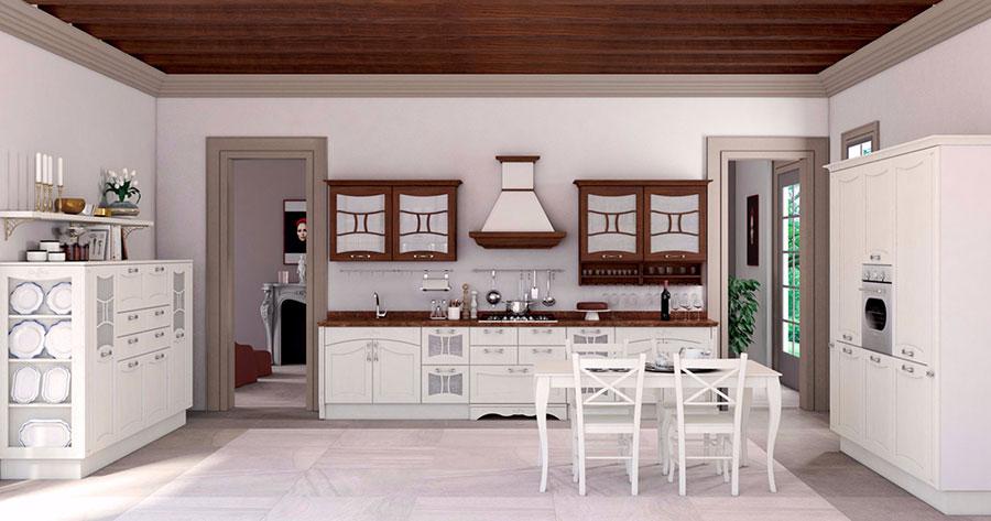Modello di cucina classica bianca e legno n.03