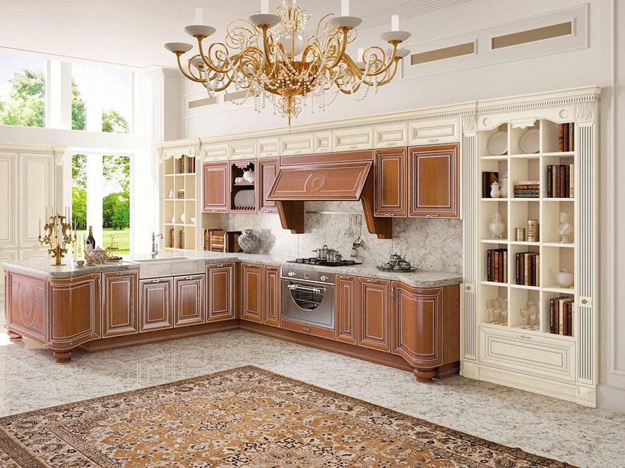 Modello di cucina classica bianca e legno n.05