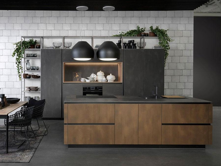 Modello di cucina nera e legno n.02