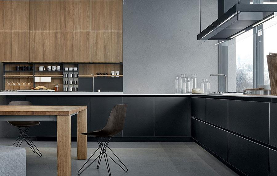 Modello di cucina nera e legno n.03