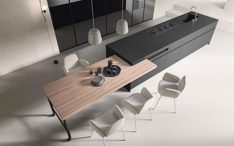 Modello di cucina nera e legno n.05