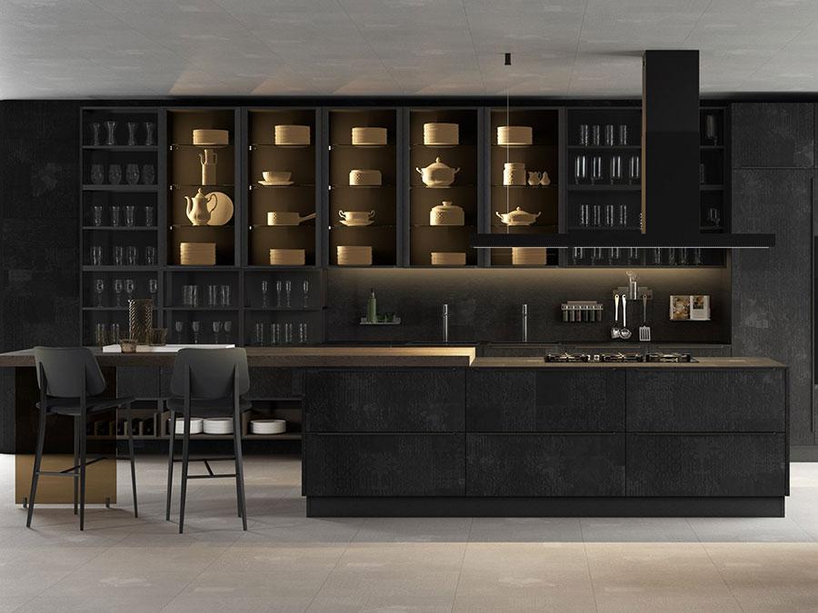 Modello di cucina nera e legno n.08