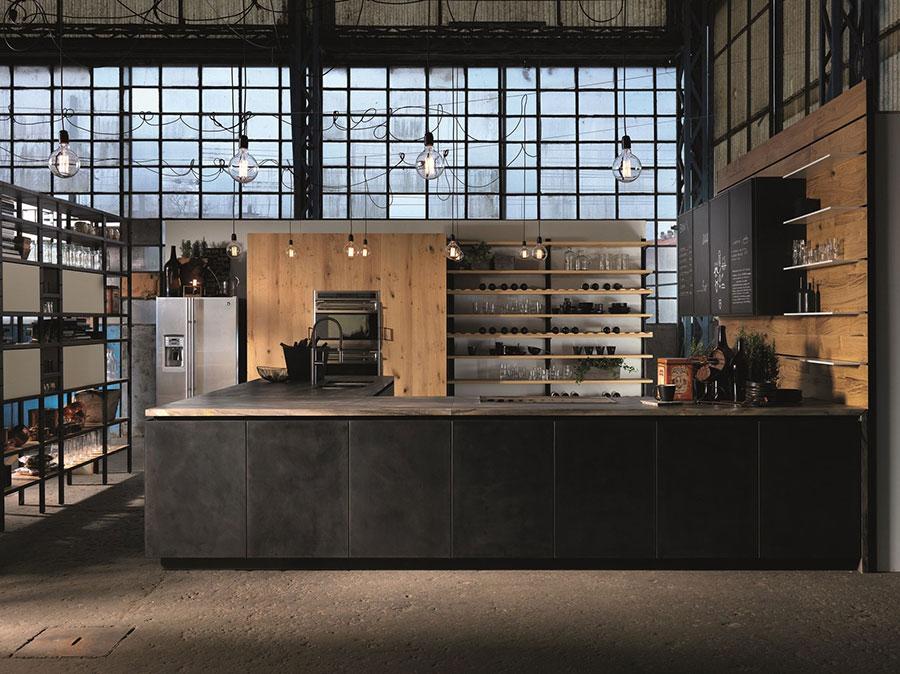 Modello di cucina nera e legno n.09