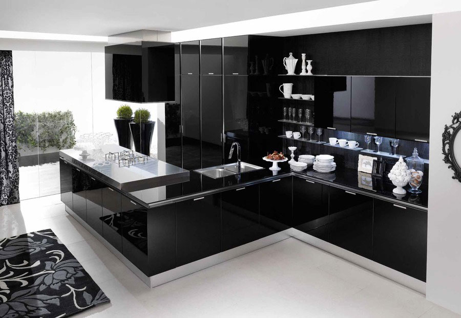 Modello di cucina nera lucida n.02
