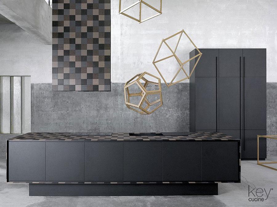 Modello di cucina nera opaca n.03