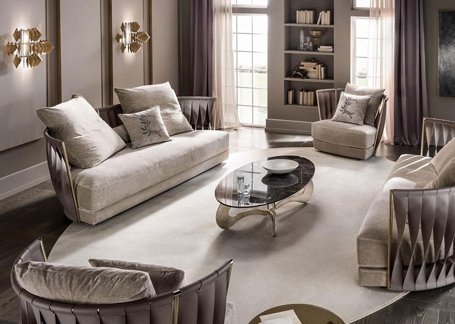 Modello di divano curvo piccolo n.08