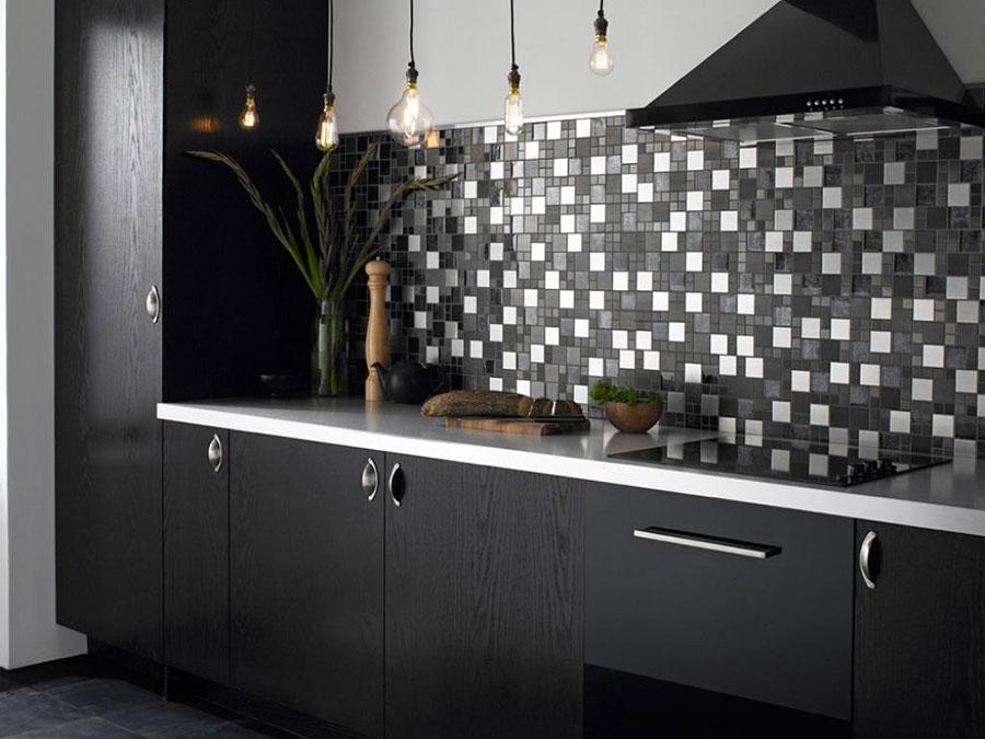 Modello di piastrelle per cucina bianca e nera n.01