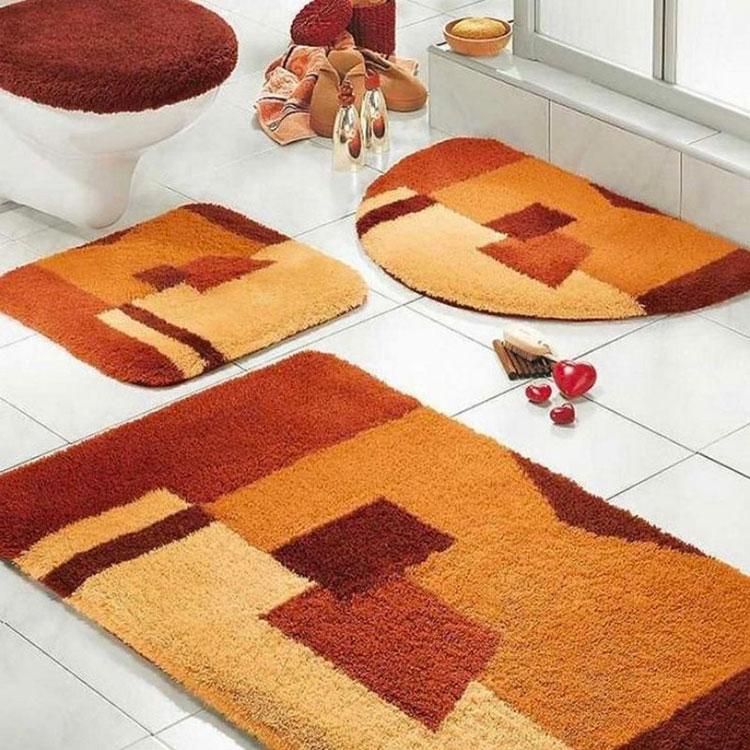 Modello di tappeto per bagno arancione 01