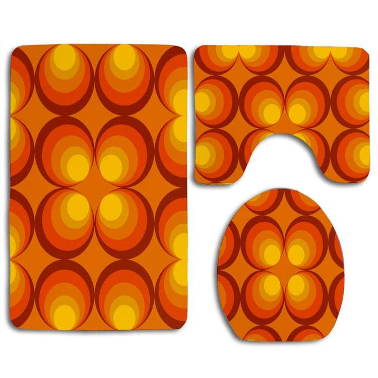 Modello di tappeto per bagno arancione 02