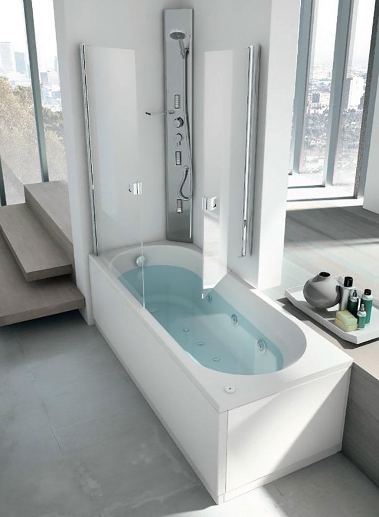 Modello di vasca da bagno piccola con box doccia n.04