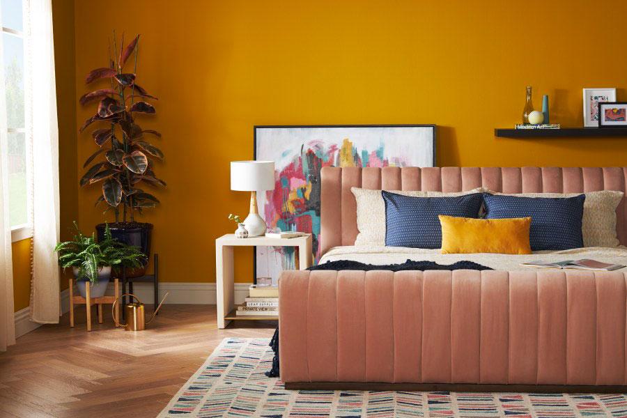 Idee per utilizzare il colore ambra in camera da letto n.01