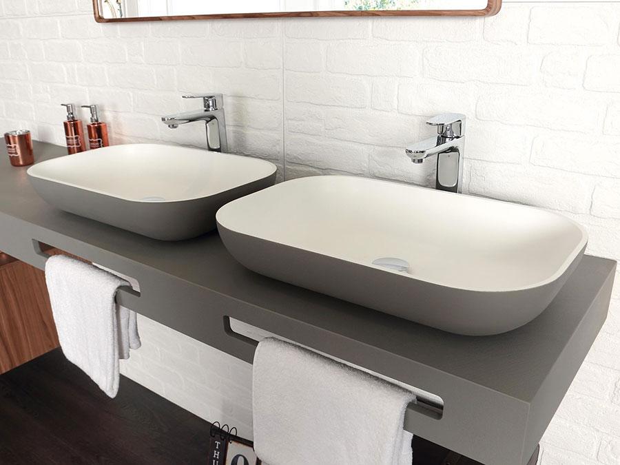 Modello di lavabo da appoggio rettangolare di Acquabella n.01