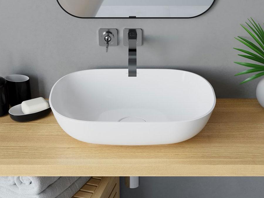 Modello di lavabo da appoggio rettangolare di Acquabella n.02