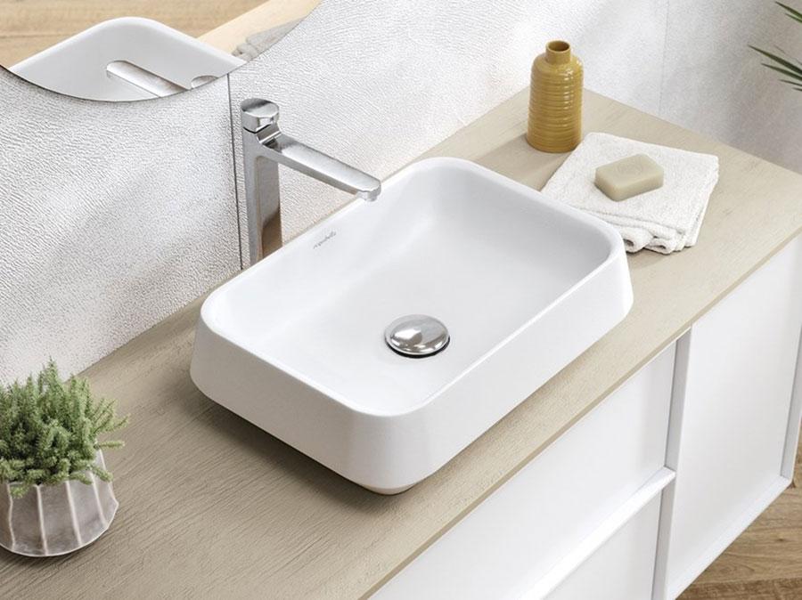 Modello di lavabo da appoggio rettangolare di Acquabella n.03
