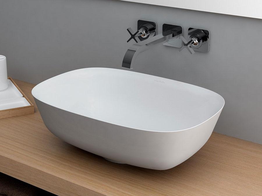 Modello di lavabo da appoggio rettangolare di Acquabella n.04