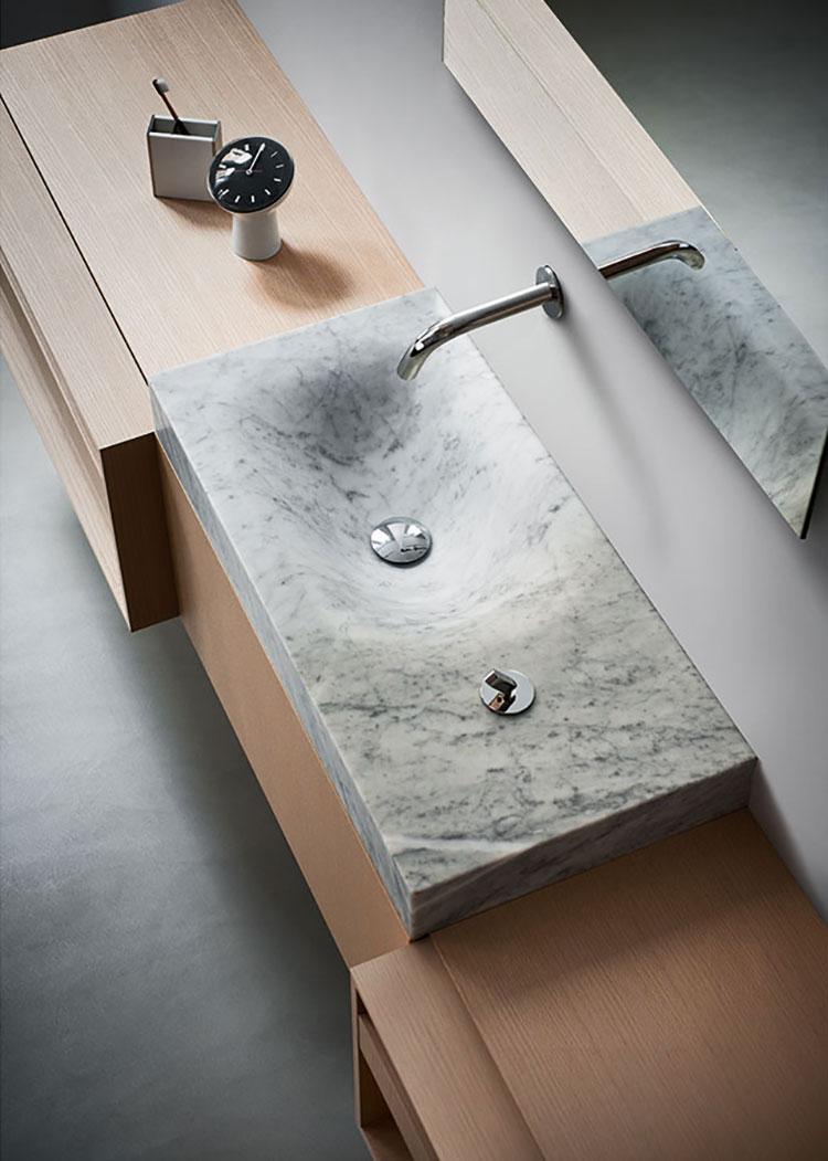 Modello di lavabo da appoggio rettangolare di Agape n.03