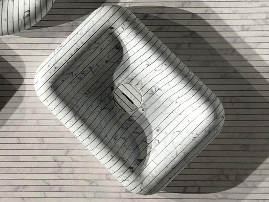 Modello di lavabo da appoggio rettangolare di Antonio Lupi n.01
