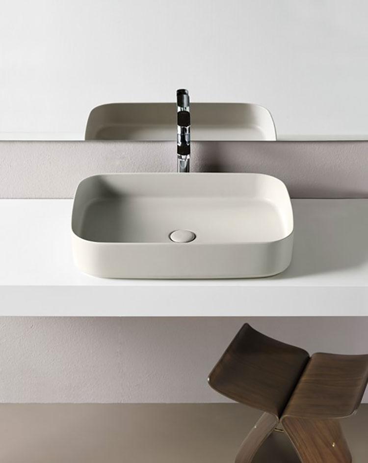Modello di lavabo da appoggio rettangolare di Ceramica Cielo n.01