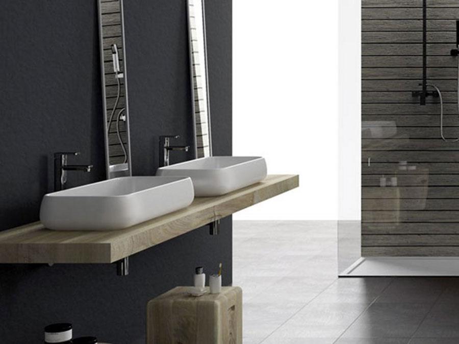 Modello di lavabo da appoggio rettangolare di Ceramica Cielo n.02