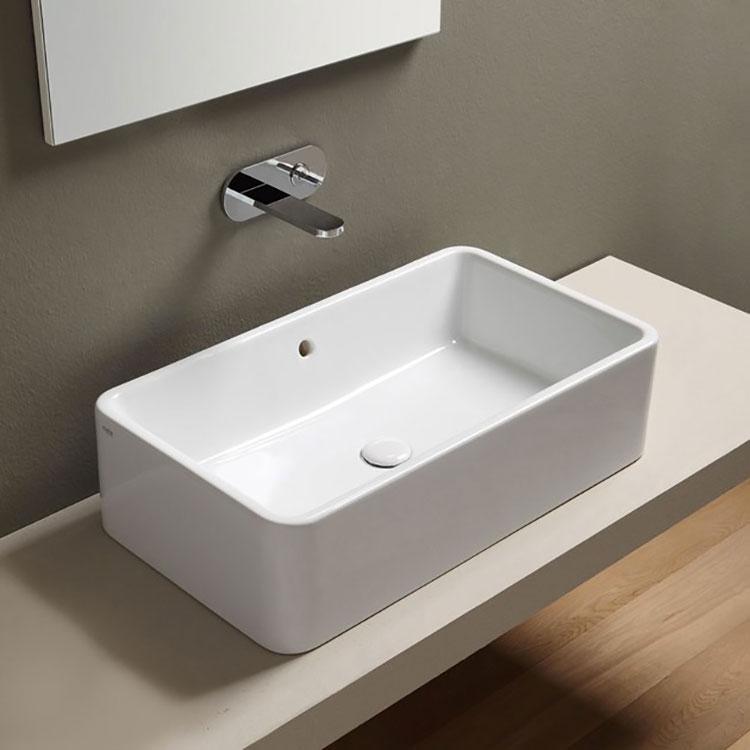 Modello di lavabo da appoggio rettangolare di Ceramica Cielo n.03