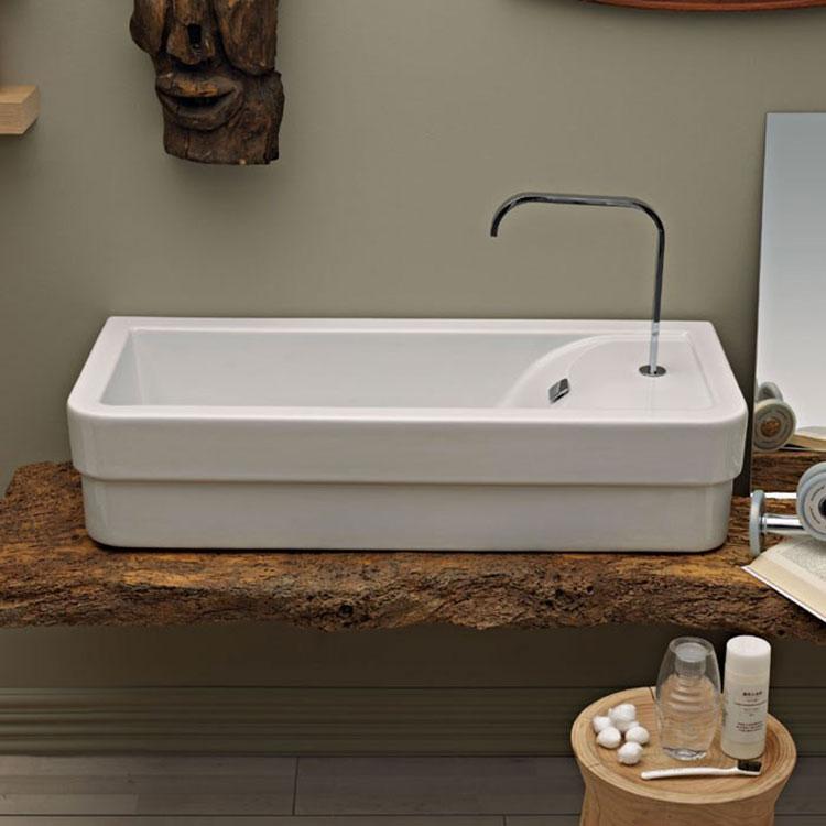 Modello di lavabo da appoggio rettangolare di Ceramica Cielo n.04