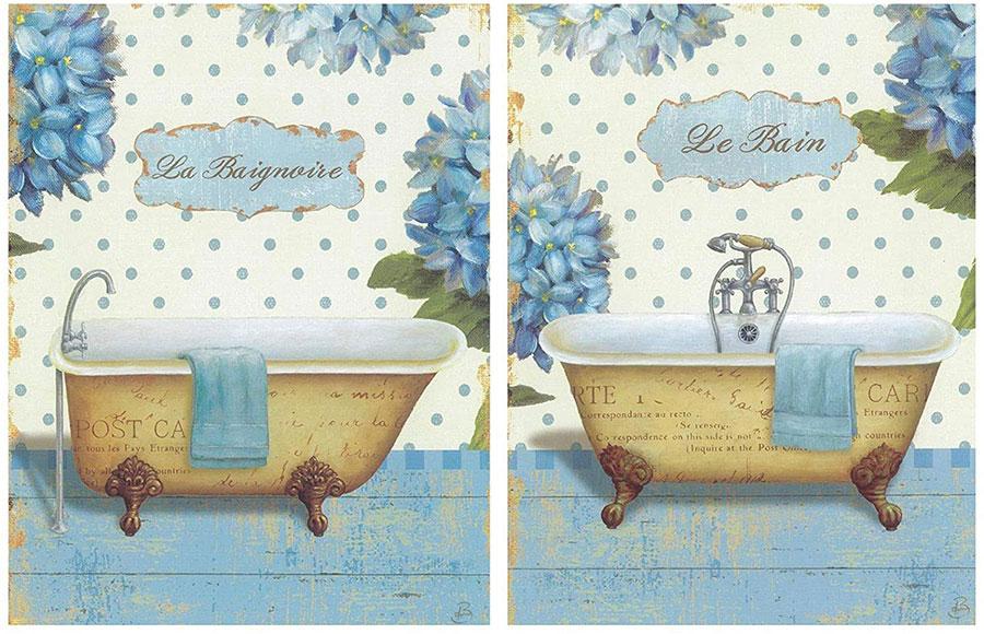 Modello di quadro per bagno shabby chic n.01