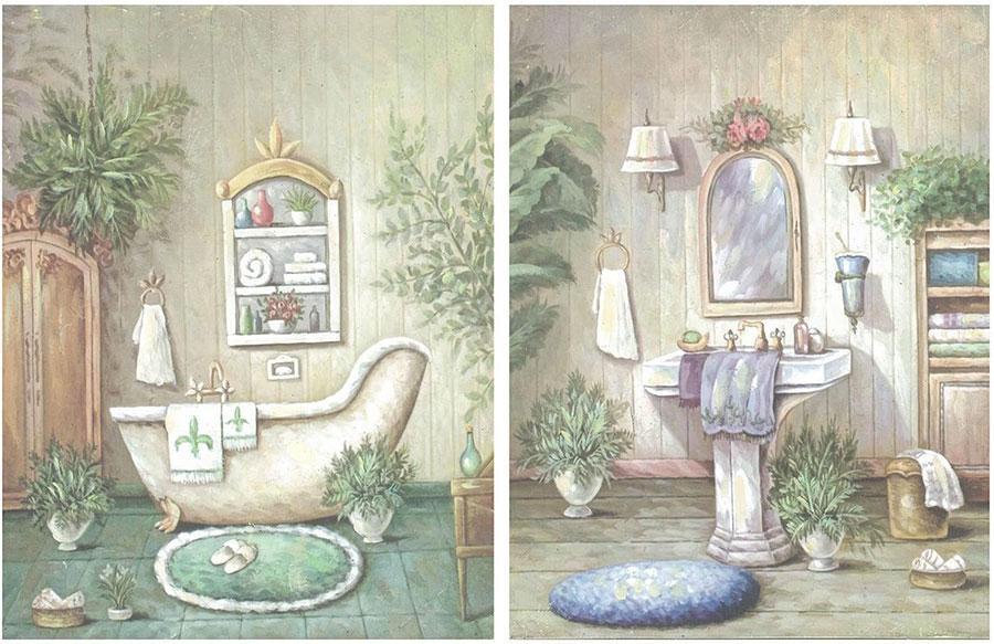 Modello di quadro per bagno shabby chic n.02