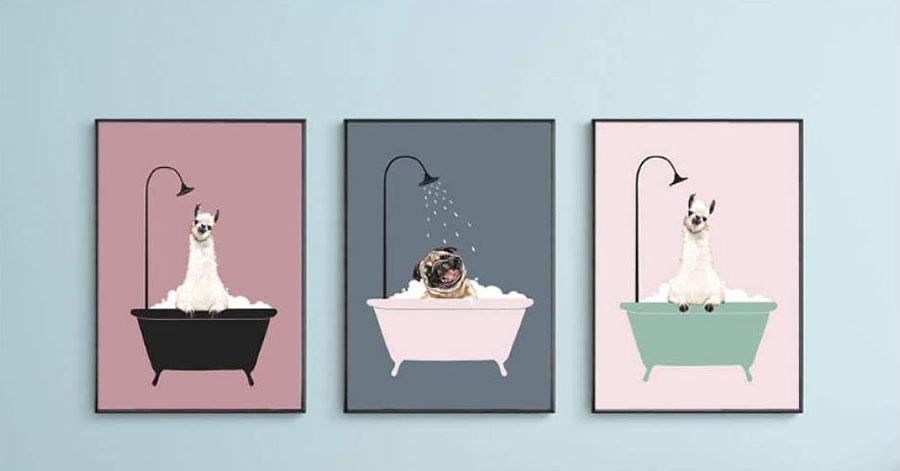 Modello di quadro per bagno vintage n.04