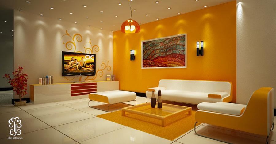 Idee per utilizzare il colore ambra nel soggiorno n.02