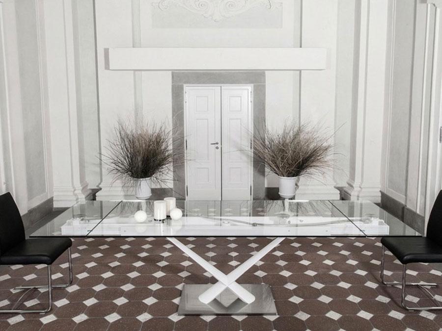 Modello di tavolo in cristallo allungabile n.06