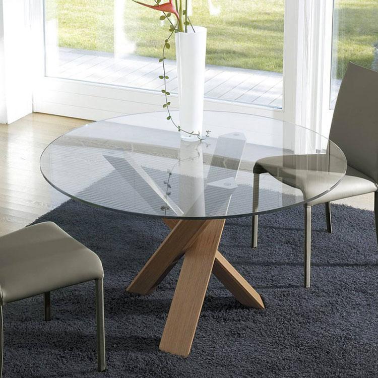 Modello di tavolo in cristallo e legno n.03
