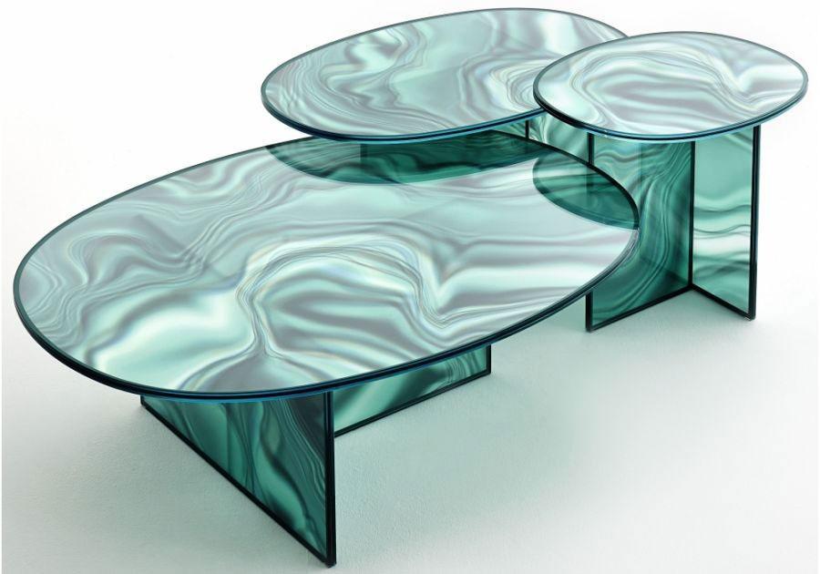 Modello di tavolo in cristallo ovale n.08