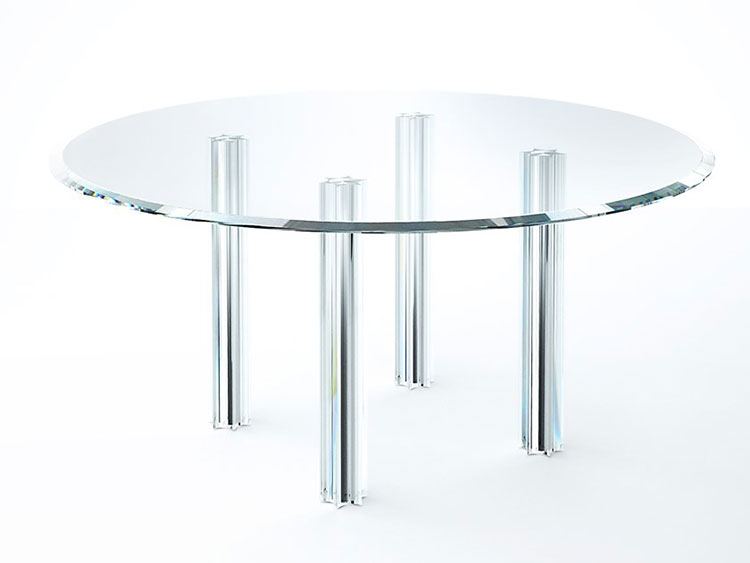 Modello di tavolo in cristallo rotondo n.03