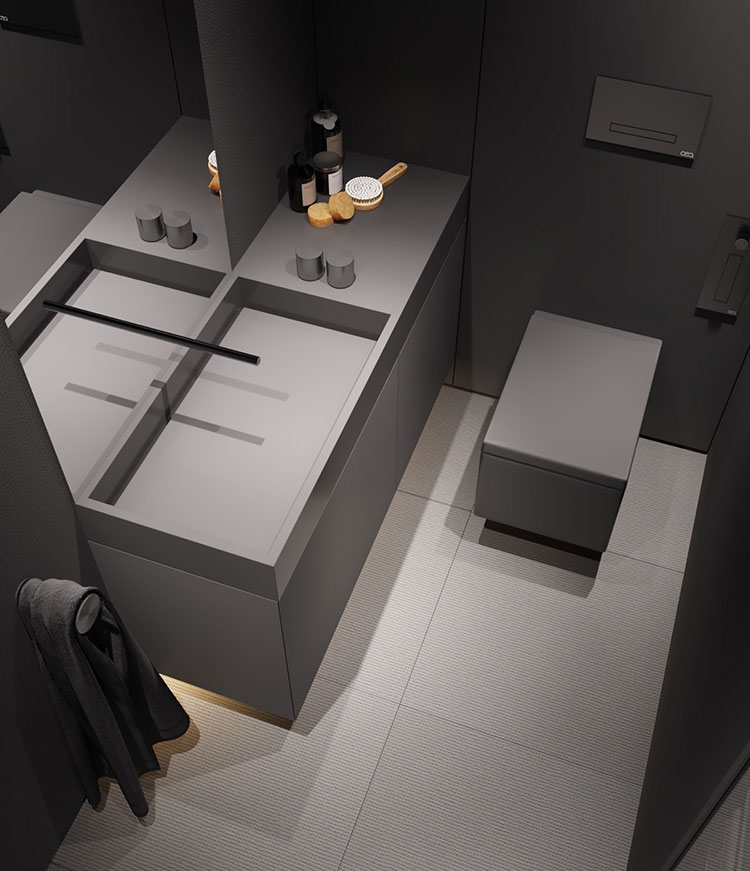 Idee per il bagno colore antracite n.01