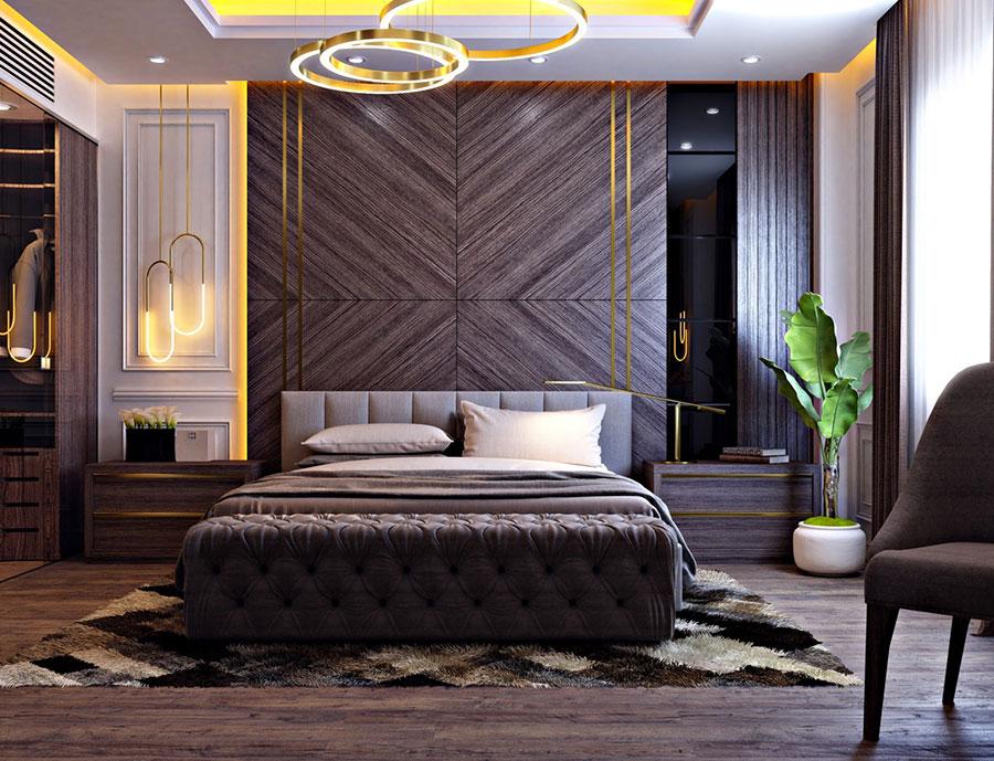 Idee per decorare la parete dietro al letto con la boiserie n.02
