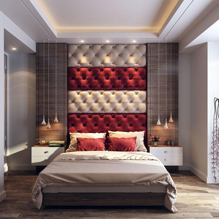 Idee per decorare la parete dietro al letto con la boiserie imbottita n.03