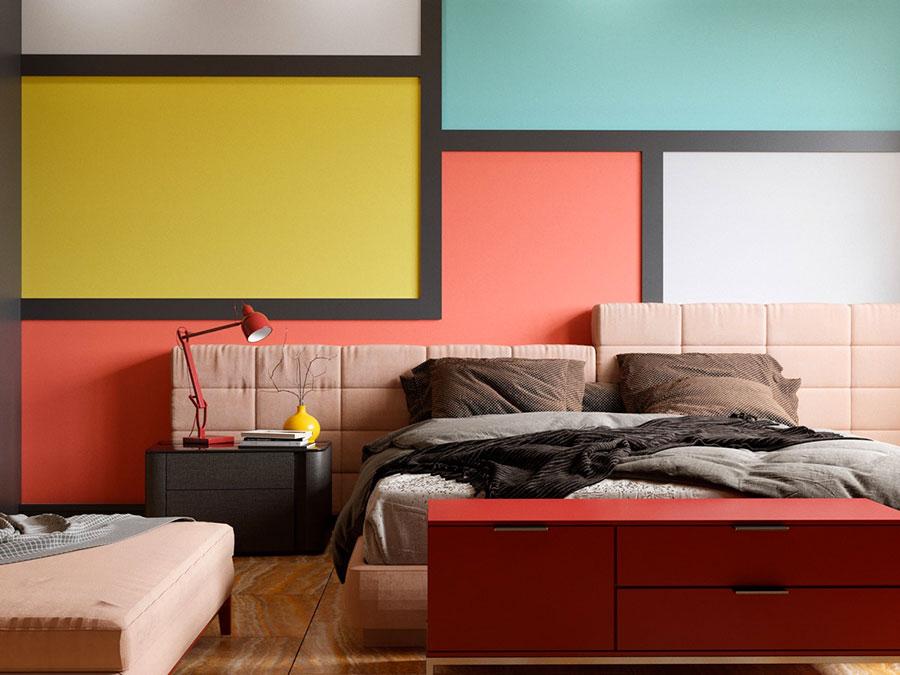 Idee per decorare la parete dietro al letto con i colori n.01