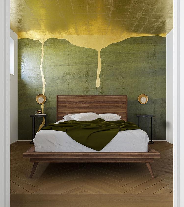 Idee per decorare la parete dietro al letto con i colori n.04