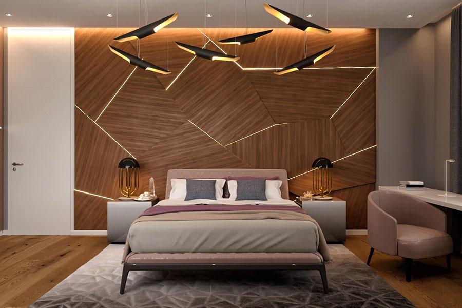 Idee per decorare la parete dietro al letto con le luci n.01