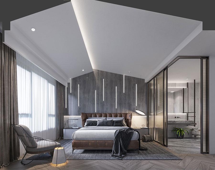 Idee per decorare la parete dietro al letto con le luci n.04